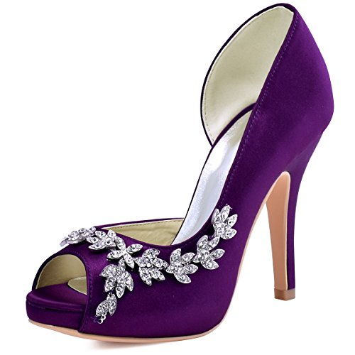 ElegantPark HP1560IAC Women's Peep Toe Platform High Heel Rhinestones Satin Wedding Party Dress Shoes Purple US 7 - Satin Peep Toe Pump Heel