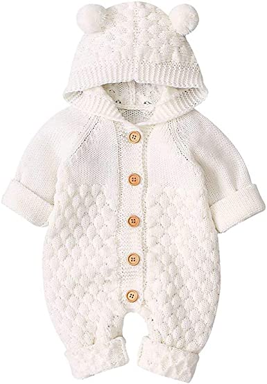 Newborn Baby Boys Girls Bear Ear Knit Romper Hooded Wool Sweater Jumpsuit Outfit
