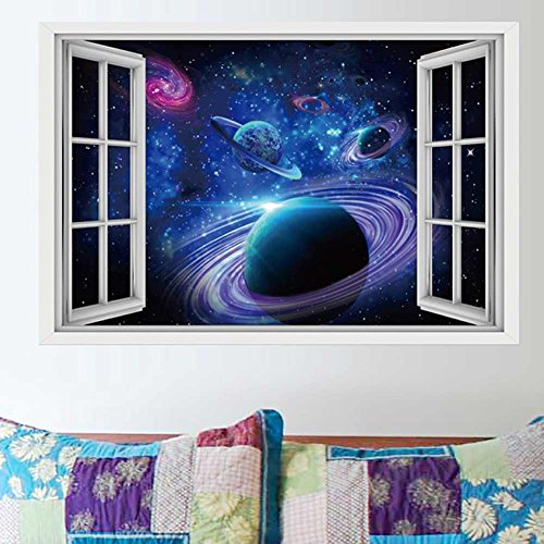 CNUSER Window View Wall Murals, 3D Space Stickers,Outer Star Wall Decals Milky Way Galaxy Decorations Outer Space Wall Mural