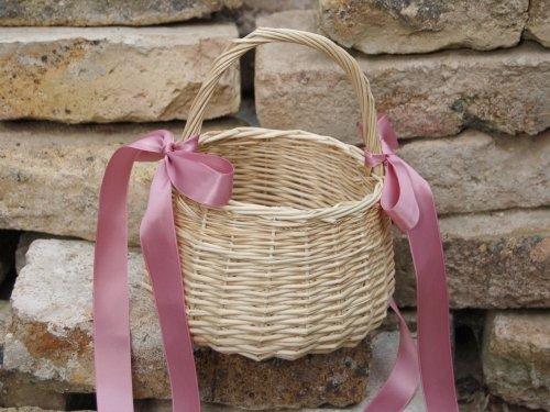 Blumenkinderkörbchen natur, Satinband altrosa, Blumenkinderkorb Streukörbchen zur Hochzeit