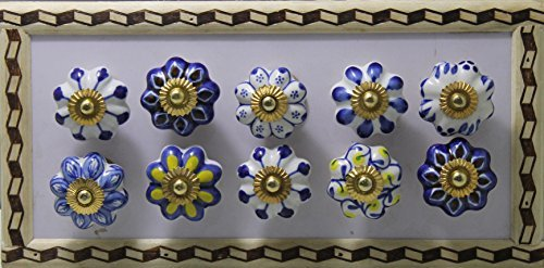 BLUE NIGHT Hand Painted knobs With Beautiful Leaf and Flower Design Pulls (Ornate Hand Painted Porcelain)