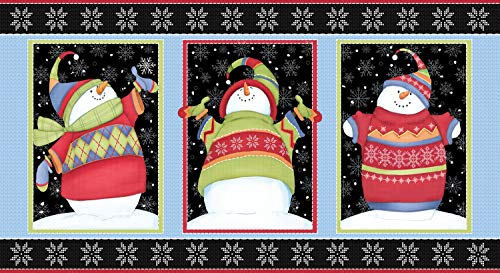 Sweater Weather Panel - Flannel Snowmen Fabric by Shelly Comiskey from Henry Glass 100% Cotton Flannel Quilt Fabric F1341P-99 ()