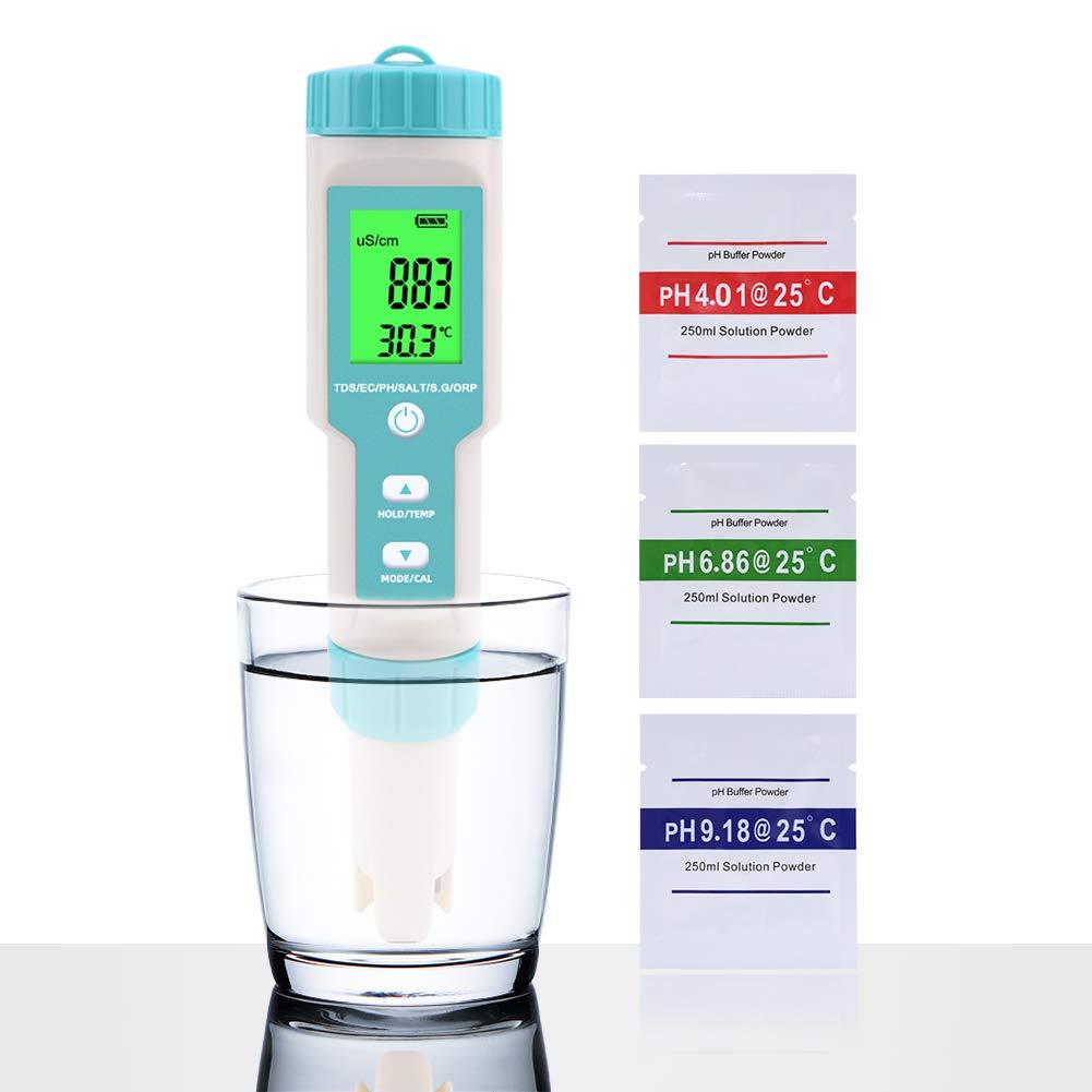 Probador calidad del agua PH/TDS/EC/ORP/S.G/Salinidad/Temp