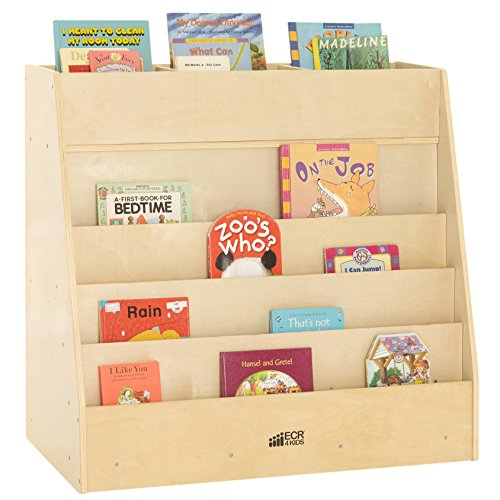 ECR4Kids Birch Book Display Stand with Storage, Mobile Wood Book Shelf Organizer for Kids, 5 Shelves & 8 Compartments, Natural ()