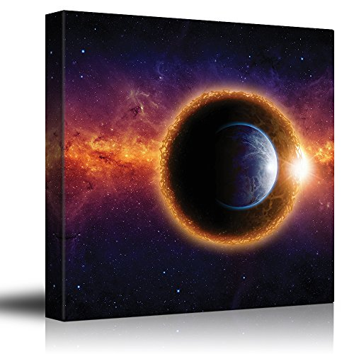 Wall26 - Planet Earth in a Black Hole Floating on a Colorful Galaxy - Canvas Art Home Decor - 24x24 (Planet Earth Print)