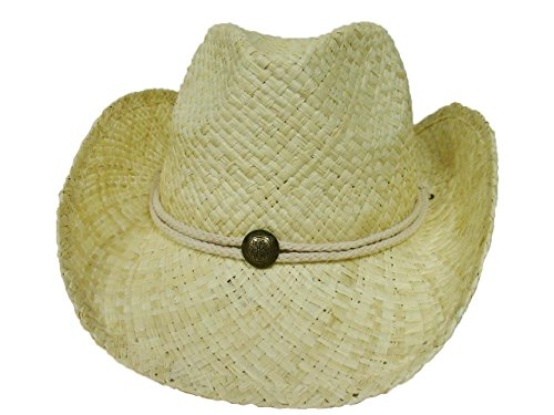 MG Tea Stained Raffia Straw Cowboy Hat - Natural White