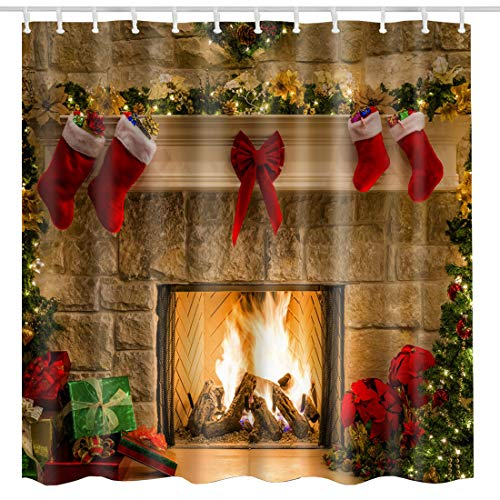 BROSHAN Christmas Shower Curtain Set, Xmas Eve Fireplace Gifts& Red Socks Holiday Bathroom Decoration, Fabric Bath Accessories Christmas, 72 inches Long, Khaki Red Green ()