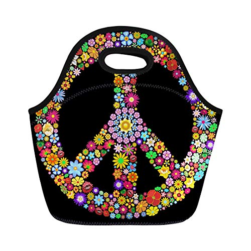 Semtomn Neoprene Lunch Tote Bag Colorful Sign Peace Symbol Groovy Flowers Woodstock Psychedelic Spring Reusable Cooler Bags Insulated Thermal Picnic Handbag for Travel,School,Outdoors,Work