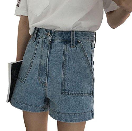 ズームパートナー樹木PIITE レディース デニム ショット パンツ 夏 ショット パンツ ファション デニム 短パン ハイウエスト ストレートパンツ カジュアル 無地 ジーンズ ワイドパンツ ポケットを付け シンプル