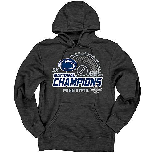 (Elite Fan Shop Penn State Nittany Lions National Wrestling Champs Hooded Sweatshirt 2019 Charcoal - XL)