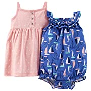 Carter's Baby Girls Dress & Romper Set with Panty (3 Months, Blue-Sailboats/Polka Dots)