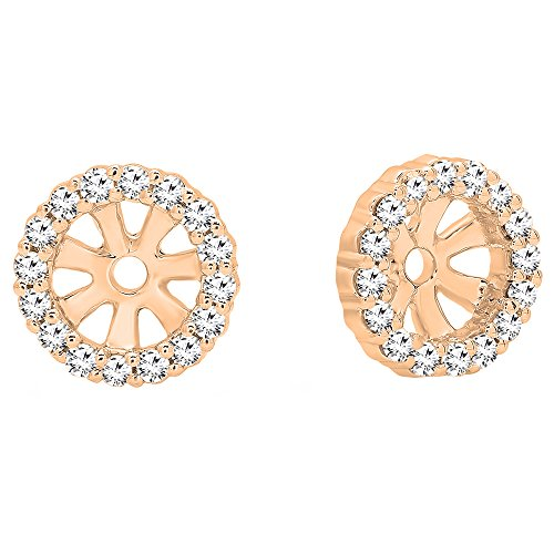Dazzlingrock Collection 0.16 Carat (ctw) 14K Round Diamond Removable Jackets For Stud Earrings, Rose Gold ()