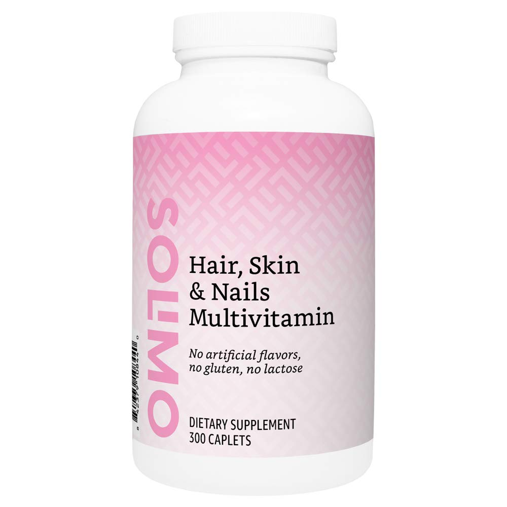 Amazon Brand - Solimo Hair, Skin & Nails Multivitamin, Biotin 3000 mcg per Serving (2 Caplets), 300 Caplets, Value Size