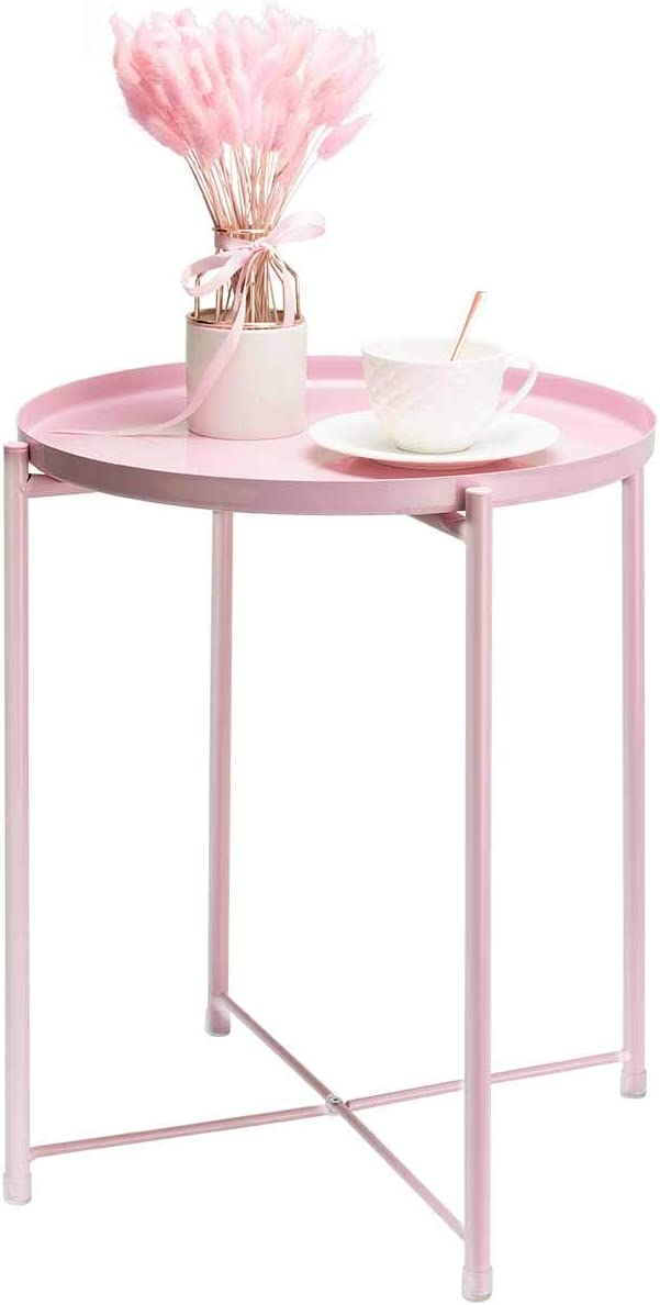 danpinera End Table, Side Table Mental Waterproof Small Coffee Table Sofa Side Table with Round Removable Tray for Living Room Bedroom Balcony and Office (Pink)