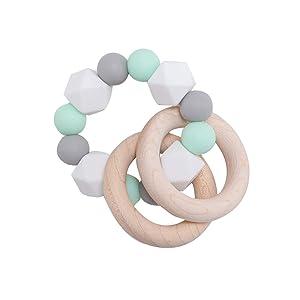 Wooden Teether Baby Teether Nursing Bracelet Silicone Teething Beads Wooden Teething Ring Infant Baby Bracelet Teething Toys Mint Green