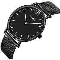 Men's Casual Classic Quartz Analog Waterproof Wrist Watches Stainless Steel Ultrathin Case Dress Watch (Black)