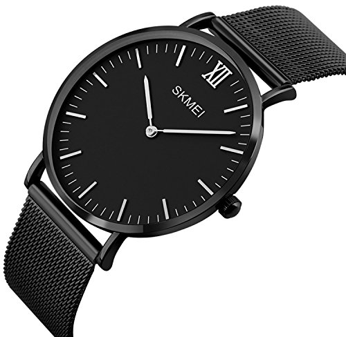 Men's Casual Classic Quartz Analog Waterproof Wrist Watches Stainless Steel Ultrathin Case Dress Watch (Black)