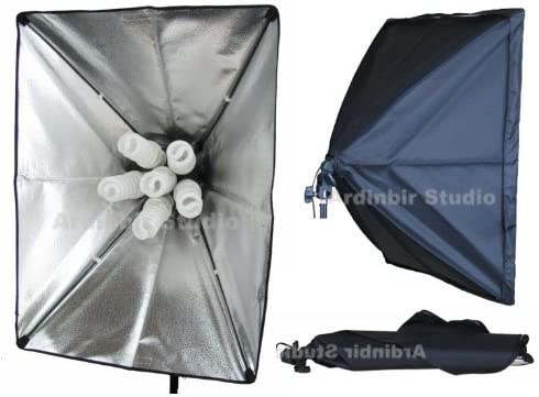 Ardinbir Studio 6000w 5500K Daylight Continuous Cool Fluorescent Video Boom Lighting Kit with Portable Collapsable Easy Open 20x28 Softbox Diffuser and Light Stand