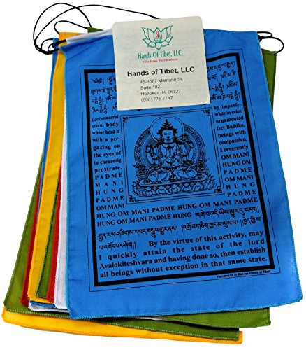 Hands Of Tibet Handmade Buddha of Compassion Prayer flags with English Translation (6×8)