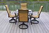 5pc Cast Aluminum Swivel Patio Furniture Dining Set with Slat Top Table – Bronze