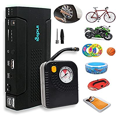 Indigi Heavy Duty Portable Battery Power Bank Jump Starter w/ Tire Air Compressor Inflators Bundled + Durable Hard Case Kit