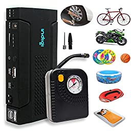 Indigi Heavy Duty 12800mAh USB 12V Emergency Jump Starter Power Bank Flat Tire Air Compressor w/ Durable Hard Case Kit