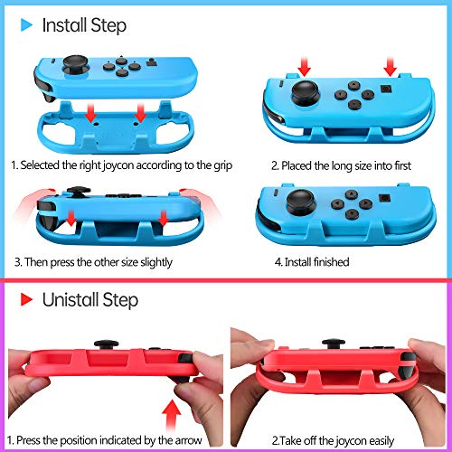 LeyuSmart Wrist Straps for Just Dance 2021 2020 2019 Switch, Hand Free Elastic Wristband for Nintnedo Switch Dancing Accessories, JoyCon Grip Pair (Large Size Blue+Red)
