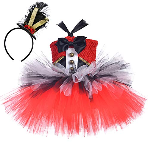 Tutu Dreams Circus Costume for Kids Girls Red Ringmaster Lion Tamer Dress Up Pageant Holiday Birthday Party Halloween (Ringmaster, Large)]()