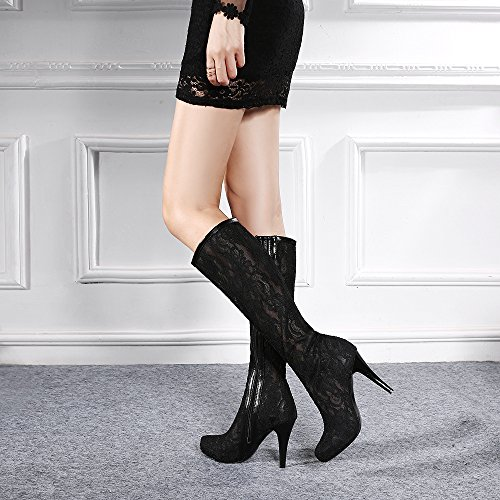Black Winter Lace Shoes Toe Heel High Boots Boots 4U High Rubber Sole Embroidery Fall Knee Best Stiletto Women's Flower Round 1wASHx4q