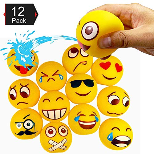 (Liberty Imports Water Bath Squirties - Fun Floating Squeeze and Squirt Bathtub Squirters - Ideal Toys for Kids, Babies, Toddlers Bathtime (Emoji))