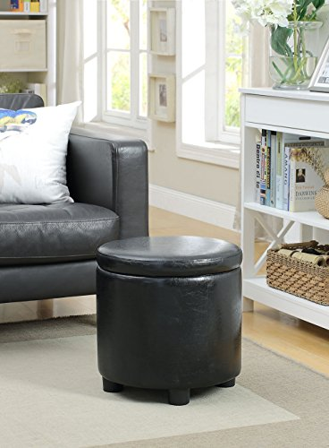 Convenience Concepts Designs4Comfort Round Accent Storage Ottoman, Black