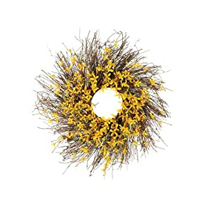 24 Forsythia Wreath w/Twig Yellow (Pack of 2) 55