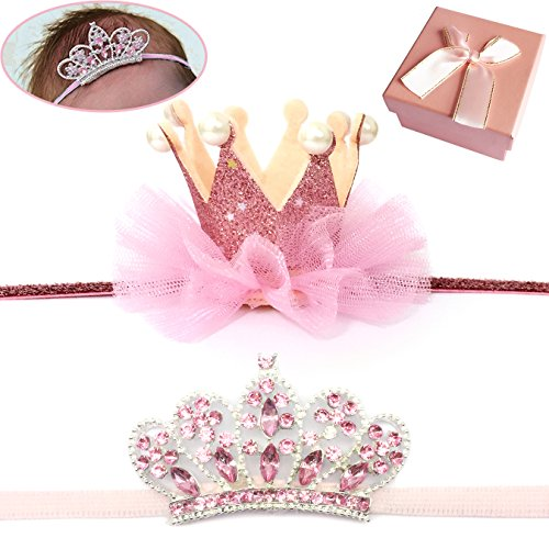 Elesa Miracle Baby Hair Accessories Baby Girl's Gift Box Shiny Tiara Crown Headband Set (2pc- Pink) ()