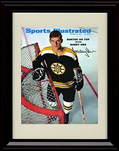 (Framed Bobby Orr Sports Illustrated Autograph Replica Print - Boston Bruins - 3/3/69)