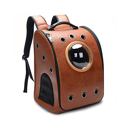 Bartonisen Airline Approved Pet Carrier Backpack Viewing Window Space Capsule Design Small Dogs Cats (Brown, Backpack) by Bartonisen