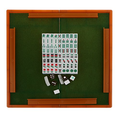 Lovoski  中国 伝統的 ゲームセット ミニ マージャン 麻雀 折り畳み テーブル付き 全2色 - ブルー