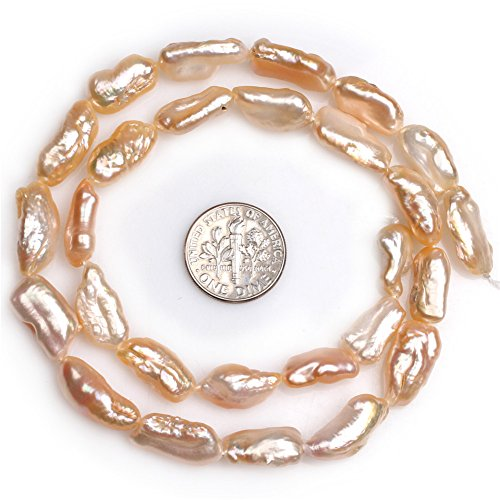(JOE FOREMAN 8x20mm Freshwater Cultured Pearl Semi Precious Stone Pink Stick Point Biwa Loose Beads for Jewelry Making DIY Handmade Craft Supplies 15
