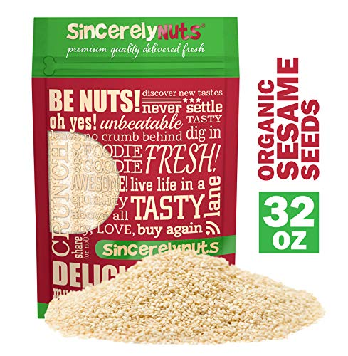 Sincerely Nuts Hulled Organic Sesame Seeds (2 lb Bag)- Natures Super Seed   Rich Flavor Profile Perfect for Cooking   Raw, Gluten Free, Vegan & Kosher   All Natural Plant Based Protein & Healthy Fats