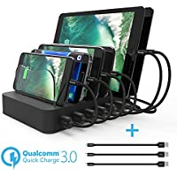 Paxcess Charging Station 60W 12A 6 Port USB Charger QC 3.0 Quick Charge Charging Dock, Phone Charger Multi Port Desktop Charging Station with Removable Baffles for Multiple Devices iPhone/iPad/Tablet