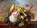Still Life with fruit flowers and bird by Franz Xaver Petter Accent Tile Mural Kitchen Bathroom Wall Backsplash Behind Stove Range Sink Splashback One Tile 8''x6'' Ceramic, Glossy