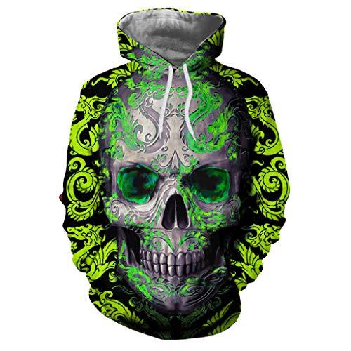 SMALLE◕‿◕ Fashion Item,Unisex Casual Punk Style Dragon Skull Print Long Sleeve Hoodies Sweatshirt-Street Style Top Green