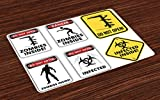 Ambesonne Zombie Place Mats Set of 4, Warning Signs for Evil Creatures Paranormal Construction Design Do Not Open Artwork, Washable Fabric Placemats for Dining Room Kitchen Table Decor, Multicolor