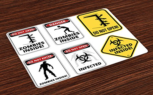 Ambesonne Zombie Place Mats Set of 4, Warning Signs for Evil Creatures Paranormal Construction Design Do Not Open Artwork, Washable Fabric Placemats for Dining Room Kitchen Table Decor, Multicolor by Ambesonne