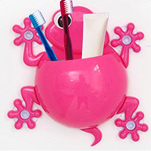 Kikkios Creative Cute Lovely Cartoon Animal Wall Stick Mount Climbing Gecko Toothbrush Toothpaste Makeups Tool Pencil Hanging Holder Suction Cup Kids Bathroom Office Organizer Decor - Pink (1pc)
