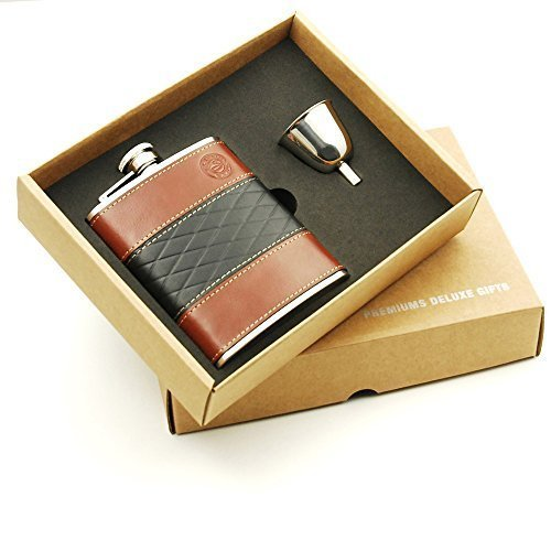 Savage 6oz Flask Gift Set with 1pc Covered Leather Flask and 1pc Funnel 18/8 Stainless Steel ()