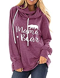 ZIOOER Womens Mama Bear Printed Hoodie Long Sleeve Drawstring Hooded Pullover Sweatshirt