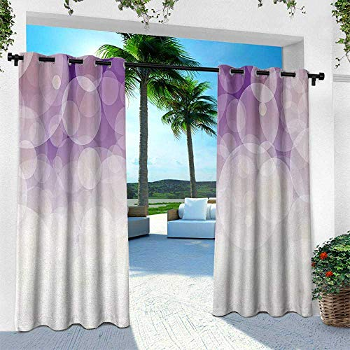 Hengshu Abstract, Thermal Insulated Water Repellent Drape for Balcony,Hazy Circles Background Blurry Digital Gradient Pastel Tones Artful Image, W96 x L96 Inch, Cocnut Violet Lilac