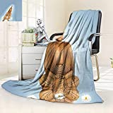 vanfan Heavy Blanket Winter Statue in Meditation Lotus Lilly Flowers Reflection on Water Eastern Tranquility Blue,Silky Soft,Anti-Static,2 Ply Thick Blanket. (90''x70'')