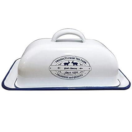 G1106 Landhaus Butterdose aus Emaille Weiß Schwarz Nostalgie Butterdose