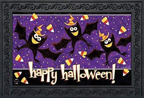 ZOZGETU Doormat Happy Halloween Bats Doormat Candy Corn Indoor Outdoor]()